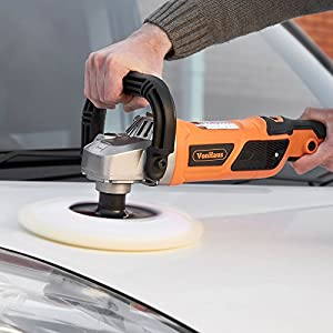 "VonHaus Electric 10-Amp 7"" Polisher / Buffer / Finishing Machine & Accessory Kit With 7 Buffer Pads/Sponges & Polishing Bonnet Pad – 600-3000 RPM Variable Speed- Car, Bike, Boat, Tile ETC."