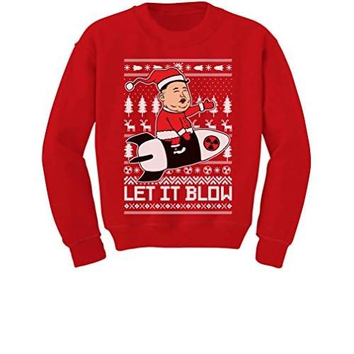 nice TeeStars - Let It Blow Funny Kim Jong Un Ugly Xmas Youth Kids Sweatshirt free shipping