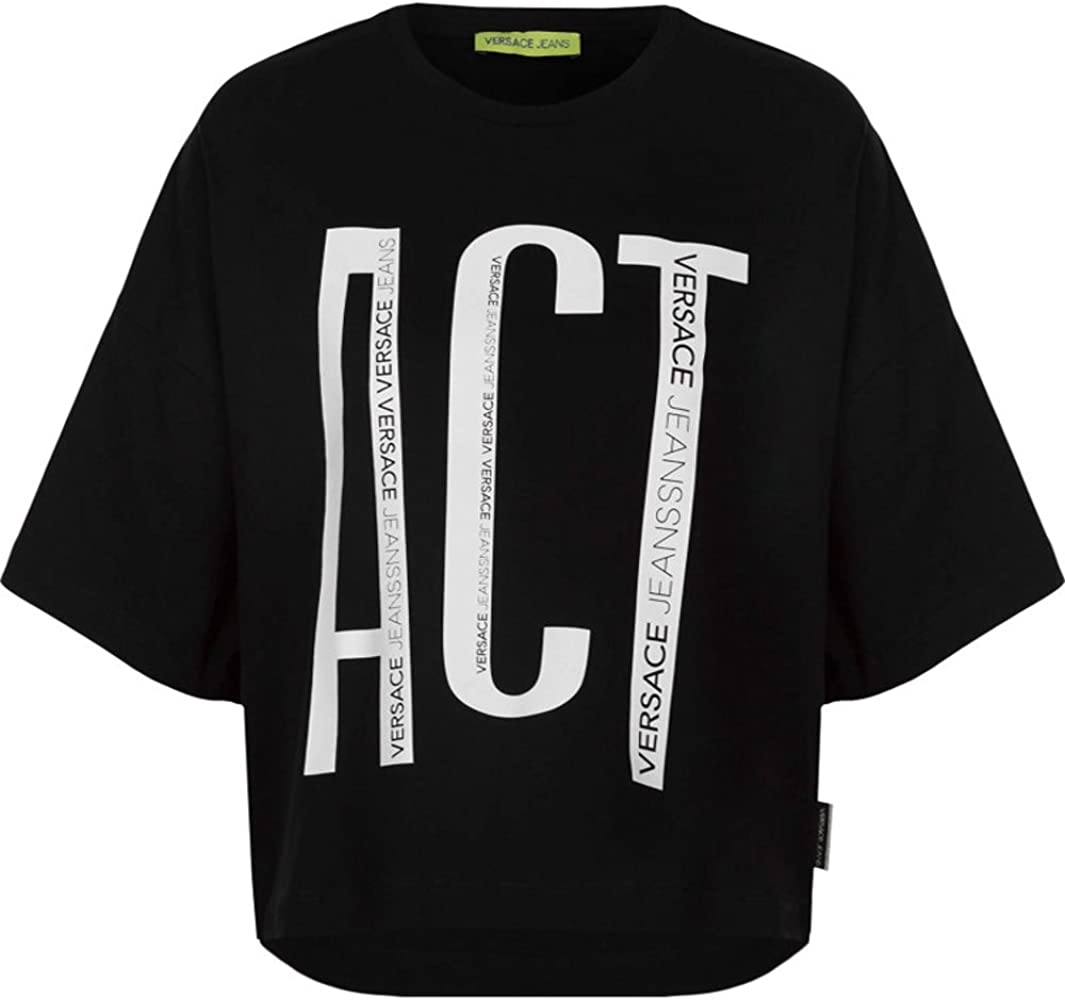 Versace Jeans Camiseta Mujer Manga Corta Negra con Letras Blancas Oversize (S): Amazon.es: Ropa y accesorios