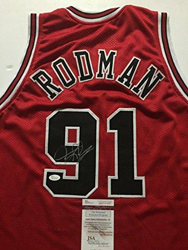 Autographed/Signed Dennis Rodman Chicago Bulls Red Basketball Jersey JSA COA