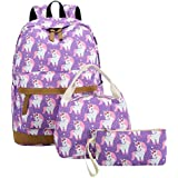 CAMTOP Teens Backpack for School Boys Girls School Bookbag Set Travel Daypack (3pcs Backpack sets/Purple)