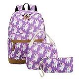 CAMTOP Teens Backpack for School Boys Girls School Bookbag Set Travel Daypack (3pcs Backpack sets/Purple)