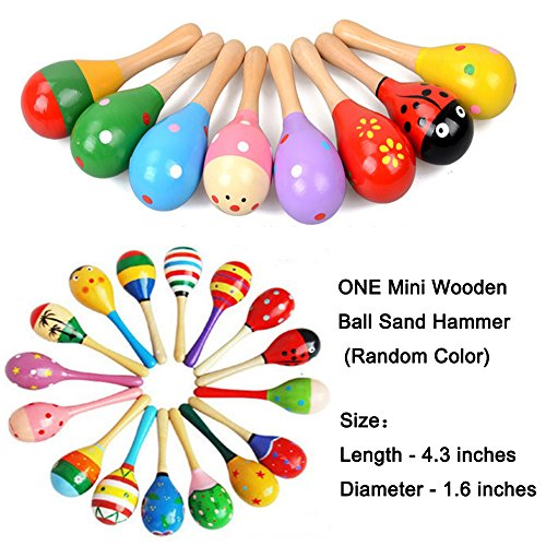 Large Product Image of Set of 6 - 5PCS Colorful Adorable Wooden Egg Maracas Music Percussion Baby Kids Children Toy Egg Shakers(Assorted color) & 1 PCS Mini Wooden Ball Musical Instruments Maracas(Random color)