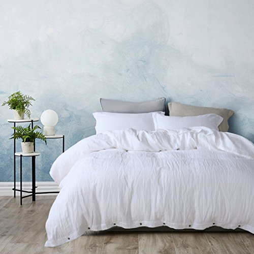 ESASILK 3 Pieces/Lot Linen Duvet Cover Set Linen Bedding Sets 100% Pure French Linen Water wash king queen twin size (Cal king, white)