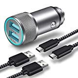 Car Charger, LEEKOTECH 24W 4.8A Dual USB Car Charger Adapter AL-Alloy + 2-Pack 3FT Braided USB Type C Fast Charging Cable Kit Compatible with Samsung Galaxy S10 S10e S9 S8 Plus, LG V40, Pixel -Updated