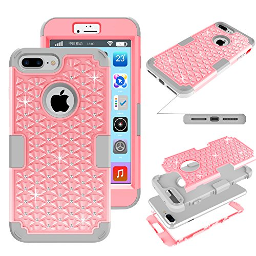 iPhone 7 Plus Glitter Case, Kecko Shockproof Slim Fit Rhinestone Bling Crystal Hybrid Armor Drop Protection Tough Rugged Case Impact Resistant Cover for iPhone 7 Plus (Pink Gray)