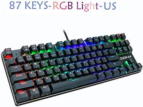 ZZFF ノートPC用のゲームメカニカルキーボードLEDバックライト付きアンチゴーストブルー/レッド/ブラックスイッチ有線ゲーミングキーボードロシア語/英語 (Axis Body : Blue Switch, Color : RGB light US)