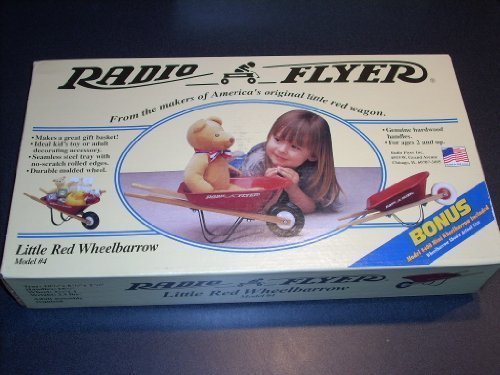 Hardwood Cd / Dvd - RADIO FLYER Little Red Wheelbarrow Model #4. Genuine hardwood handles. For ages 2 and up. Ideal kid's toy or adult decorating accessory. Seamless steel tray with no -scratch rolled edges. Bonus #400 Mini Wheelbarrow Included.
