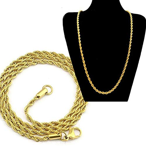 (Desirepath 24k Gold Long Chain Necklace Jewelry Gothic Style Gold Color Male Necklace Gifts(Size:18-30inch, 5mm))