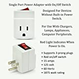 BindMaster 3 Prong Grounded Single Port Power Adapter with Red Indicator On/Off Switch, 1 Pack