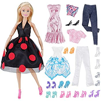 edadd5fe986 E-TING Lot 15 Items   5 Sets Fashion Casual Wear Clothes Outfit Party Dress  with 10 Pair Shoes for Girl Doll