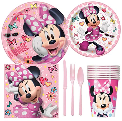 Disney Minnie Mouse Birthday Party Supplies Pack Including Cake & Lunch Plates, Cutlery, Cups, Napkins (8 -