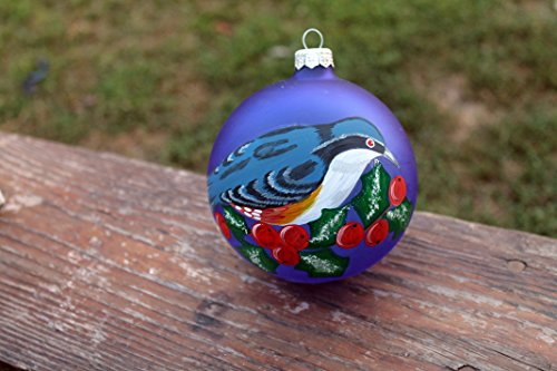 Cardinals Hand Painted Ball Ornament - Glass Christmas Ornament Hand Painted Bird , Christmas Ball Ornament with ,Hand painted iridescent glass ornament with Bird