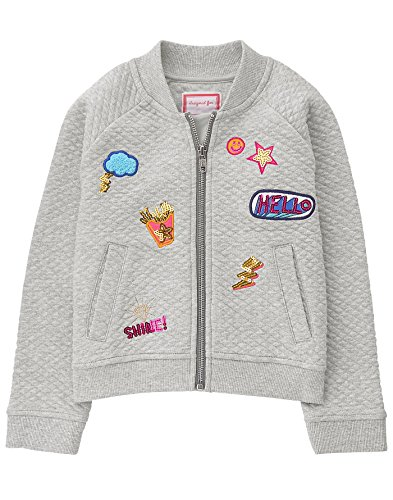 (Gymboree Girls' Little Quilted Bomber Jacket, Gray)