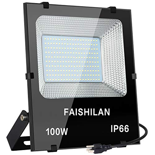 FAISHILAN 100W LED Flood Light,100W(500W Halogen Equiv), Outdoor IP66 Waterproof Work Lights, 8000Lm,6500K, Outdoor Floodlight for Garage, Garden, Lawn and -