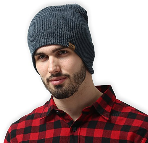 Daily Knit Ribbed Beanie by Tough Headwear - Warm, Stretchy & Soft Beanie Hats for Men & Women - Year Round Comfort - Serious Beanies for Serious Style,Dark - Round For Hats Face Male
