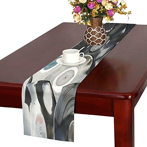 MOVTBA Bakelite Retro Plastic Old Black Music Disc Polyester Table Runner 16x72 Inches,watercolor Painting Rectangle Table Cloth Placemat For Office Kitchen Dining Wedding Party Home Decor -