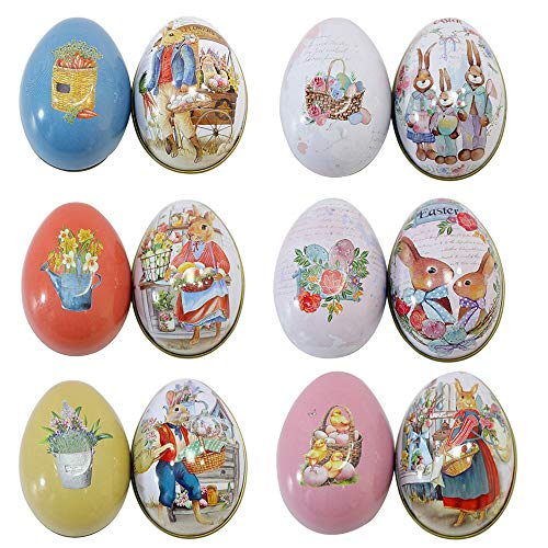 Vintage Easter Eggs - Renococo Easter Day Eggs Decor Large Tin Metal Candy Chocolate Boxes Painted Decorative Vintage Bunny Kitchen Pack of 6