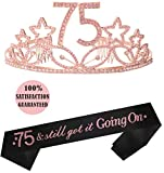 75th Birthday Tiara and Sash Pink | HAPPY 75th Birthday Party Supplies| 75 & still got it going on Black Glitter Satin Sash and Crystal Tiara Birthday Crown for 75th Birthday Party Supplies and Decora