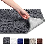 Soft Microfiber Shag Bath Rug Non-slip Bathroom Mat (Grey)