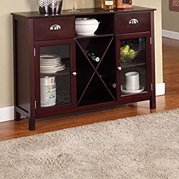 Cherry Dining Room Buffet Sideboard Server With Glass Doors Wine Rack
