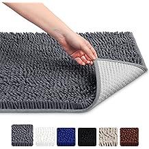 "VDOMUS Soft Microfiber Shag Bath Rug, Extra Absorbent and Comfortable, Machine-Washable large Bathroom Mat, 32"" x 20"", Grey"