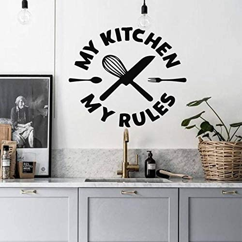 Tianpengyuanshuai Vinilos Decorativos Cocina mi Cocina mis Reglas vinilos Adhesivos vinilos Restaurante diseño Decorativo Cuchillo y Tenedor Mural 63x73cm: Amazon.es: Hogar