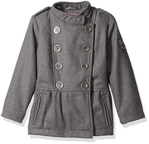 Pink Platinum Little Girls' Toddler Military Wool Coat, Grey, 4T