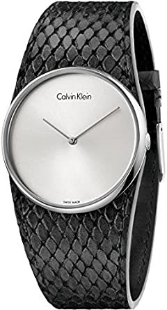 Image Unavailable. Image not available for. Colour  Calvin Klein Spellbound  Black Leather Strap K5V231C6 03cae1e817d