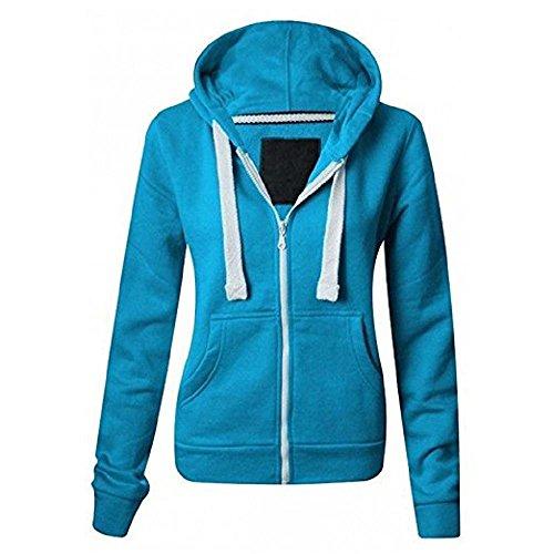 Paris Hilton Women Ladies Plain Long Sleeve Hood Drawstring Gym Casual Wear Zip Hoodie Sweatshirt Plus Size