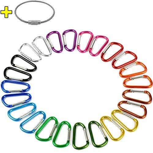 """2"""" Aluminum D Ring Carabiners Clip D Shape Spring Loaded Gate Small Keychain Carabiner Clip Set for Outdoor Camping Mini Lock Snap Hooks Spring Link Key Chain Durable Improved 24 PCS (Assorted)"""