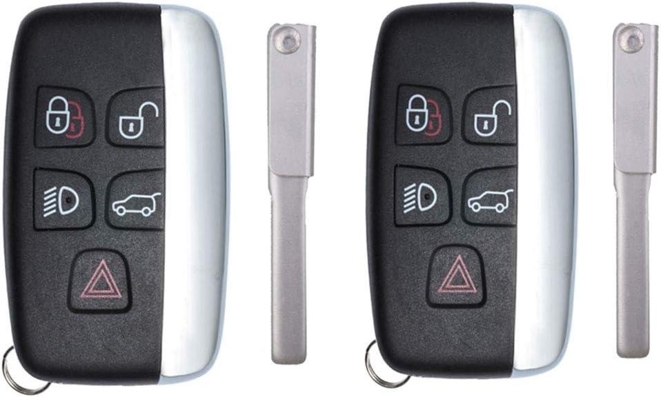 KeylessOption Keyless Entry Remote Car Smart Key Fob Case Shell Button Pad Cover for Jaguar Land Rover KOBJTF10A
