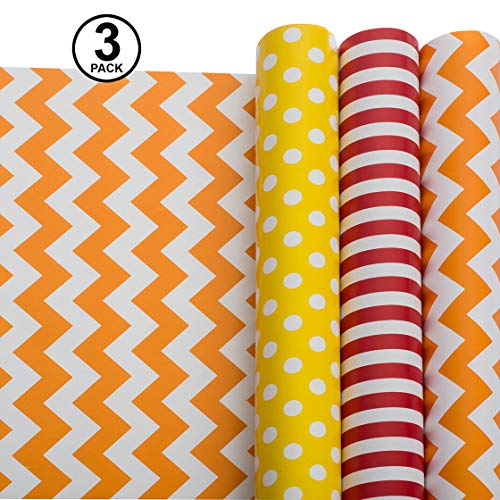 Wrapping Paper - All Occasion Wrapping Paper Bundle - Bright Wrapping Paper - Polka Dot, Stripe, Chevron - (Pack of 3, 30in x 120in per roll, 3 Bows, 2 Ribbons Included)