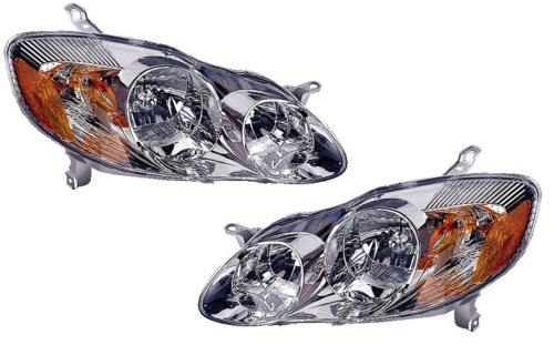 Toyota Corolla (CE, LE) Replacement Headlight Assembly (Chrome) - 1-Pair by AutoLightsBulbs (Corolla Headlight Toyota Chrome)