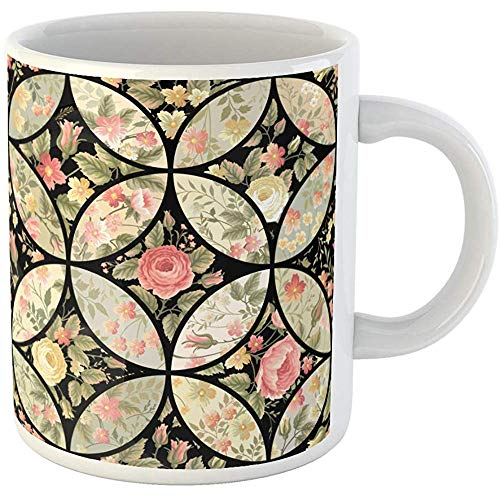 - Personalized 11 Ounces Funny Coffee Mug Flower Patchwork Floral Pattern Quilt Abstract Black Blossom Bouquet Ceramic Coffee Mugs Tea Cup Souvenir