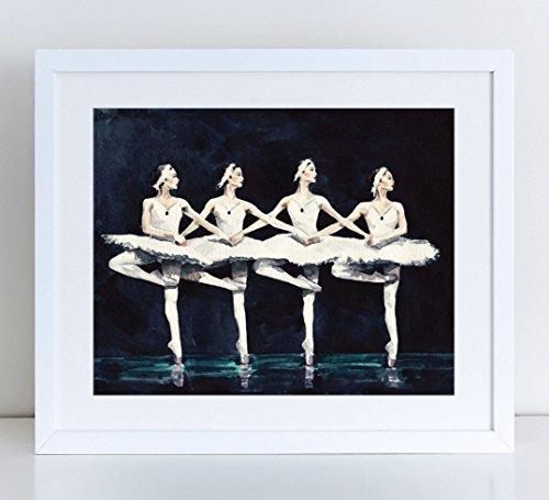 Four Swans Ballerina Art Dance Art Watercolor Print Watercolor Art Fine Art Poster Black Swan Lake Ballet Art Ballet Print Dance Painting Canvas Art Print