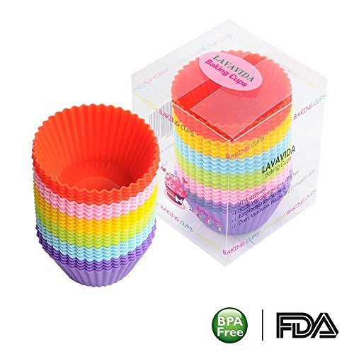 LAVAVIDA 24-Pcs Silicone Cupcake Liners, Reusable Baking Cups, Non-stick Muffin Cup Molds