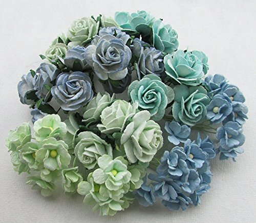 (60pc Green Tone Artificial Flowers Paper Rose Flower Wedding Card Embellishment Scrapbook Craft, Product From Thailand By Thai decorated)