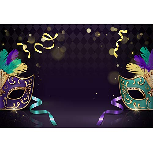 Laeacco Masked Ball Backdrop 10x7ft Mardi Gras Vinyl Photography Background Classical Elegant Mask Feather Gold Ribbons Streamer Costume Party Halloween Celebrate Portraits Shoot Prop Decor Poster]()