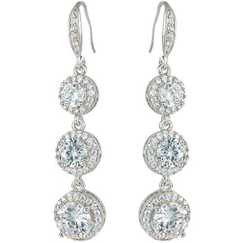 EVER FAITH Silver-Tone Prong Zircon Wedding 3 Round Shape Pierced