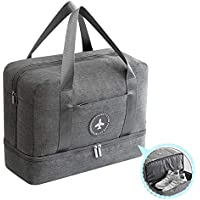 Waterproof Dry&Wet Separated Outdoor Multifunctional Grey/Blue/Black Gym and Swim Equipment Bag for Family- Water Resistance Space Save Travel Bag-Oxford Fabric Durable Storage Bag