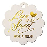 Summer-Ray 50pcs Gold Foil Hot Stamping Scallop Love is Sweet Have a Treat Wedding Favor Gift Tags (Shimmered White)