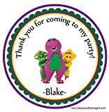 Barney Personalized Stickers Birthday Party Favors - Treat Tag Toppers- 24 Stickers Popular Size 2.5 Inches. Peel- and- Stick Backing Self-Adhesive Stickers