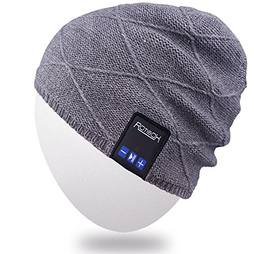 Ear Warmer Stereo Headphones - Rotibox Men Women Bluetooth Music Beanie Hat Cap Ear Warmers w/Stereo Speaker Headphones Mic Hands Free Rechargeable Battery for Outdoor Sports Skiing Snowboard Running Camping,Christmas Gift - Gray