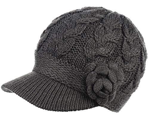 BYOS Womens Winter Warm Fleece Lined Knitted Beret Beanie Hat Cap w/Visor Peak (Cable w/Flower ()