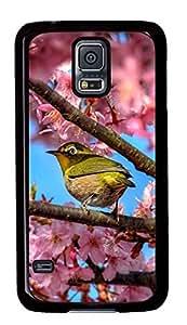 Diy Fashion Case for Samsung Galaxy S5,Black Plastic Case Shell for Samsung Galaxy S5 i9600 with Japanese White Eye Hiding In Sakura hjbrhga1544