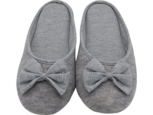 HomeTop Women's Cozy Cashmere Cotton Closed Toe House Slippers with Cute Bow Accent (Medium / 7-8 B(M) US, Gray)