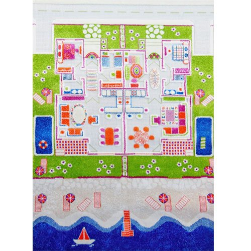 IVI 3D Play Carpet, Twin Houses (52.5x71 inch) by IVI World