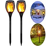Solar Torch Lights Outdoor,Waterproof Flickering Dancing Flames Landscape Decoration Lighting, Dusk to Dawn Auto On/Off Security Spotlight for Garden Patio Yard Driveway (2 Pack)