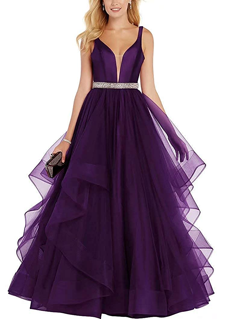 Grape ASBridal Prom Dress Long Evening Gowns with Crystal Belts Formal Prom Party Dresses Tulle Ruffles Backless 2019